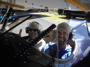 My son Houston and I about to take off for a flight over St. Augustine, Florida in a classic Waco biplane.